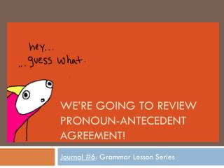 We're going to review Pronoun-Antecedent Agreement!
