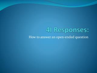 4I Responses: