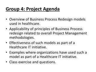 Group 4: Project Agenda