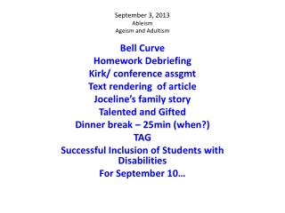 September 3, 2013 Ableism Ageism and  Adultism