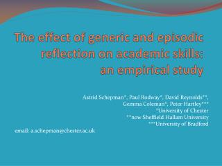 The effect of generic and episodic reflection on academic skills:  an empirical study