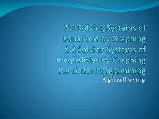Algebra II w/ trig