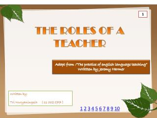 THE ROLES OF A TEACHER