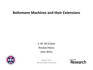 Boltzmann Machines and their Extensions