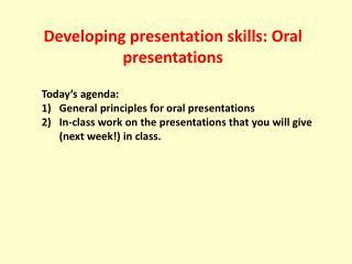 Developing presentation skills: Oral presentations