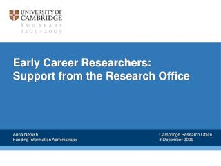 Early Career Researchers: Support from the Research Office