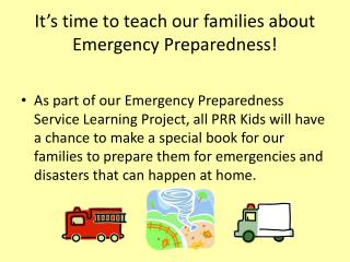 It's time to teach our families about Emergency Preparedness!