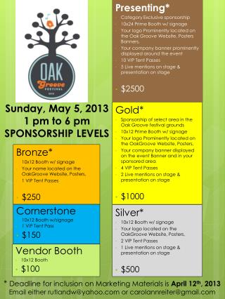 Sunday, May 5, 2013 1 pm to 6 pm SPONSORSHIP LEVELS