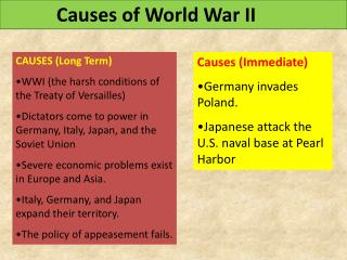CAUSES (Long Term) WWI (the harsh conditions of   the Treaty of Versailles)