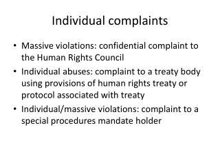 Individual complaints