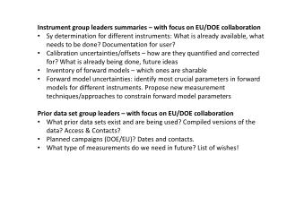 Instrument group leaders summaries – with focus on EU/DOE collaboration