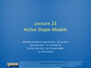 Lecture  23 Active Shape Models