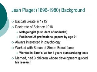 Jean Piaget (1896-1980) Background
