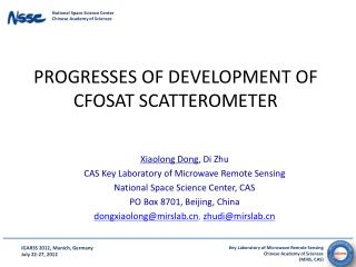 Progresses of development of  cfosat scatterometer