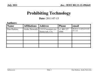 Prohibiting Technology