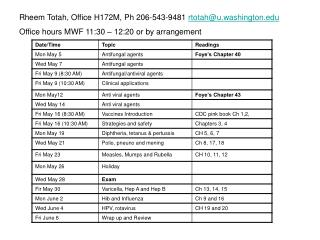 Rheem Totah, Office H172M, Ph 206-543-9481 rtotahu.washington Office hours MWF 11:30   12:20 or by arrangement