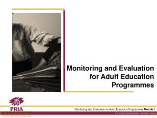 Monitoring and Evaluation for Adult Education Programmes