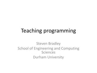 Teaching programming