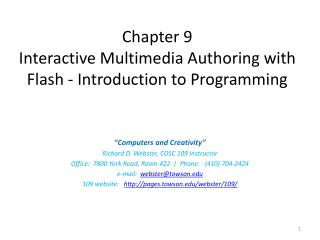 Chapter 9 Interactive Multimedia Authoring with  Flash - Introduction to Programming