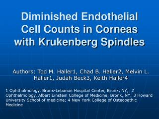 Diminished Endothelial Cell Counts in Corneas with Krukenberg Spindles