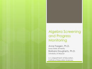 Algebra Screening and Progress Monitoring