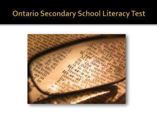 Ontario Secondary School Literacy Test