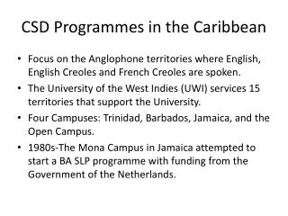 CSD Programmes in the Caribbean