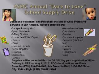 "ASMC Annual ""Dare to Love""  School Supply Drive"