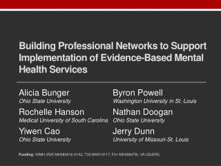 Building Professional Networks to Support Implementation of Evidence-Based Mental Health Services
