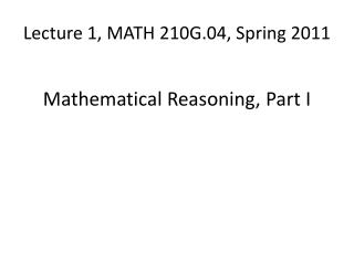Lecture 1, MATH 210G.04, Spring 2011
