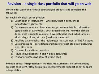 Revision – a single class portfolio that will go on web