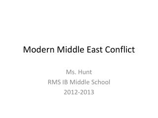 Modern Middle East Conflict