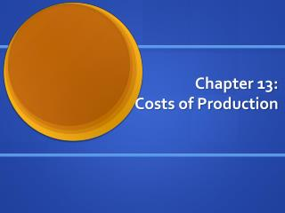 Chapter 13:  Costs of Production