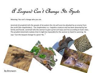 A Leopard Can't Change  I ts Spots