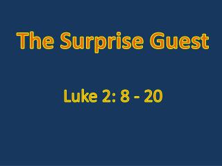 The Surprise Guest Luke 2:  8  -  20