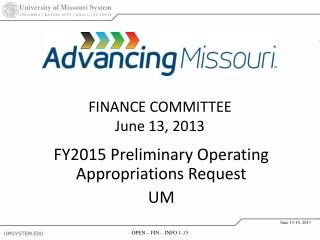 FY2015 Preliminary Operating Appropriations Request UM