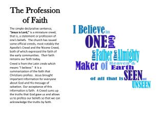 The Profession of Faith