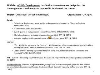 Briefer:   Chris Rader (for John Harrington) Organization:   CAC QAO