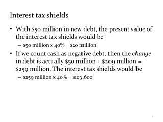 Interest tax shields