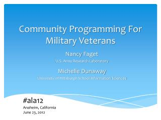 Community Programming For Military Veterans