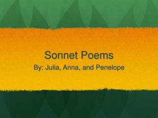 Sonnet Poems