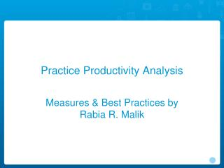 Practice Productivity Analysis