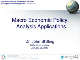 Macro Economic Policy Analysis Applications
