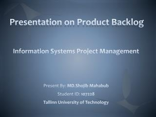 Presentation on Product Backlog