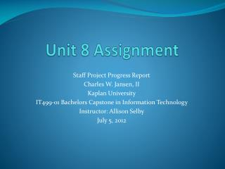 Unit 8 Assignment