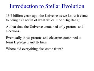 Introduction to Stellar Evolution