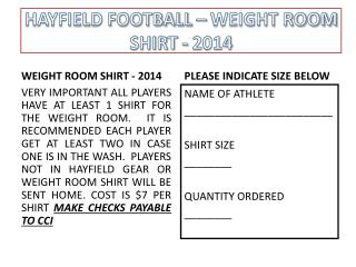 HAYFIELD FOOTBALL – WEIGHT ROOM SHIRT - 2014