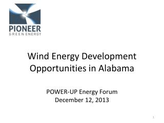 Wind Energy Development Opportunities in Alabama
