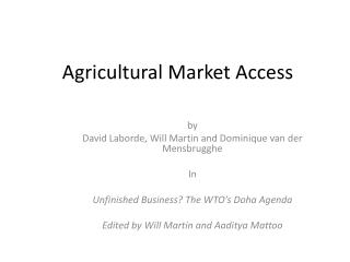 Agricultural Market Access