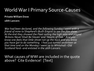 World War I Primary Source-Causes